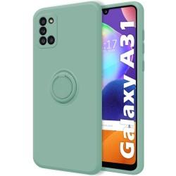 Funda Silicona Líquida Ultra Suave con Anillo para Samsung Galaxy A31 color Verde