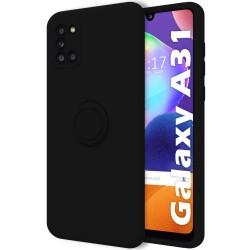 Funda Silicona Líquida Ultra Suave con Anillo para Samsung Galaxy A31 color Negra