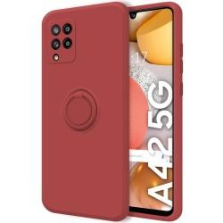Funda Silicona Líquida Ultra Suave con Anillo para Samsung Galaxy A42 5G color Rojo Coral