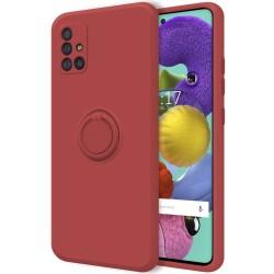 Funda Silicona Líquida Ultra Suave con Anillo para Samsung Galaxy A51 color Rojo Coral