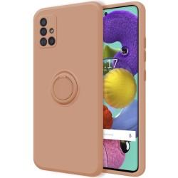 Funda Silicona Líquida Ultra Suave con Anillo para Samsung Galaxy A51 color Rosa