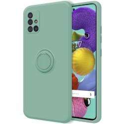 Funda Silicona Líquida Ultra Suave con Anillo para Samsung Galaxy A51 color Verde
