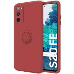 Funda Silicona Líquida Ultra Suave con Anillo para Samsung Galaxy S20 FE color Rojo Coral