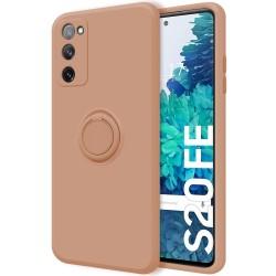 Funda Silicona Líquida Ultra Suave con Anillo para Samsung Galaxy S20 FE color Rosa