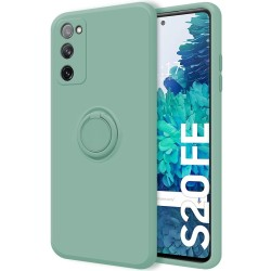 Funda Silicona Líquida Ultra Suave con Anillo para Samsung Galaxy S20 FE color Verde