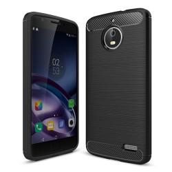 Funda Gel Tpu Tipo Carbon Negra para Motorola Moto E4