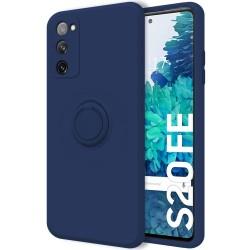 Funda Silicona Líquida Ultra Suave con Anillo para Samsung Galaxy S20 FE color Azul