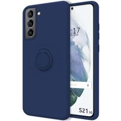 Funda Silicona Líquida Ultra Suave con Anillo para Samsung Galaxy S21 5G color Azul