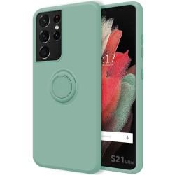 Funda Silicona Líquida Ultra Suave con Anillo para Samsung Galaxy S21 Ultra 5G color Verde