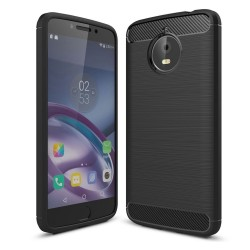 Funda Gel Tpu Tipo Carbon Negra para Motorola Moto E4 Plus