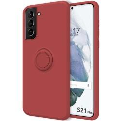Funda Silicona Líquida Ultra Suave con Anillo para Samsung Galaxy S21+ Plus 5G color Rojo Coral
