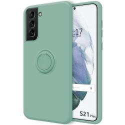 Funda Silicona Líquida Ultra Suave con Anillo para Samsung Galaxy S21+ Plus 5G color Verde