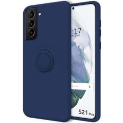 Funda Silicona Líquida Ultra Suave con Anillo para Samsung Galaxy S21+ Plus 5G color Azul