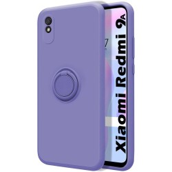 Funda Silicona Líquida Ultra Suave con Anillo para Xiaomi Redmi 9A / 9AT color Morada