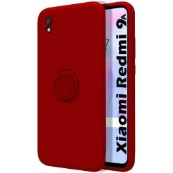 Funda Silicona Líquida Ultra Suave con Anillo para Xiaomi Redmi 9A / 9AT color Roja