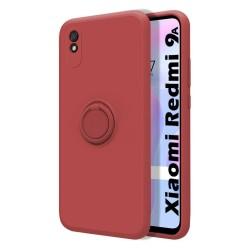 Funda Silicona Líquida Ultra Suave con Anillo para Xiaomi Redmi 9A / 9AT color Rojo Coral
