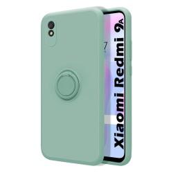 Funda Silicona Líquida Ultra Suave con Anillo para Xiaomi Redmi 9A / 9AT color Verde