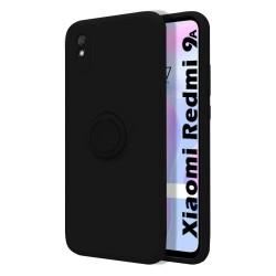 Funda Silicona Líquida Ultra Suave con Anillo para Xiaomi Redmi 9A / 9AT color Negra