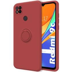 Funda Silicona Líquida Ultra Suave con Anillo para Xiaomi Redmi 9C color Rojo Coral