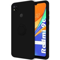 Funda Silicona Líquida Ultra Suave con Anillo para Xiaomi Redmi 9C color Negra