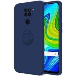 Funda Silicona Líquida Ultra Suave con Anillo para Xiaomi Redmi Note 9 color Azul