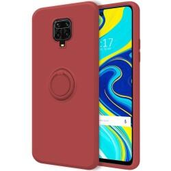 Funda Silicona Líquida Ultra Suave con Anillo para Xiaomi Redmi Note 9S / Note 9 Pro color Rojo Coral
