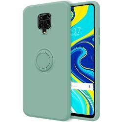 Funda Silicona Líquida Ultra Suave con Anillo para Xiaomi Redmi Note 9S / Note 9 Pro color Verde