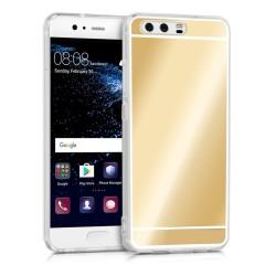 Funda Gel Tpu Efecto Espejo Dorada para Huawei P10