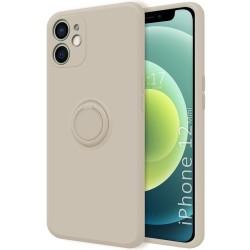 Funda Silicona Líquida Ultra Suave con Anillo para Iphone 12 Mini (5.4) color Beige