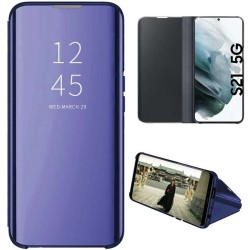 Funda Flip Cover Clear View para Samsung Galaxy S21 5G color Azul