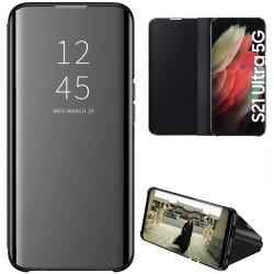 Funda Flip Cover Clear View para Samsung Galaxy S21 Ultra 5G color Negra
