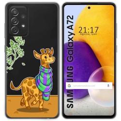 Funda Gel Transparente para Samsung Galaxy A72 diseño Jirafa Dibujos