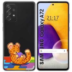 Funda Gel Transparente para Samsung Galaxy A72 diseño Leopardo Dibujos