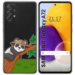 Funda Gel Transparente para Samsung Galaxy A72 diseño Panda Dibujos