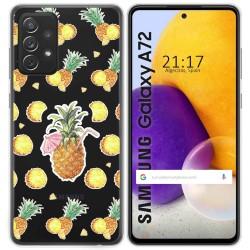 Funda Gel Transparente para Samsung Galaxy A72 diseño Piña Dibujos