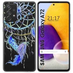 Funda Gel Transparente para Samsung Galaxy A72 diseño Plumas Dibujos