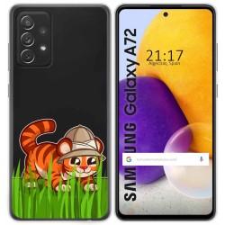 Funda Gel Transparente para Samsung Galaxy A72 diseño Tigre Dibujos