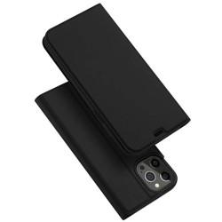 Funda Piel Soporte Magnética Dux Ducis para Iphone 12 Pro Max (6.7) color Negra