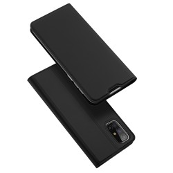 Funda Piel Soporte Magnética Dux Ducis para Samsung Galaxy M51 color Negra