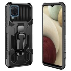 Funda Tough Armor Negra con Clip Magnético para Samsung Galaxy A12