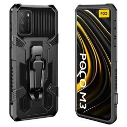 Funda Tough Armor Negra con Clip Magnético para  Xiaomi POCO M3 / Redmi 9T