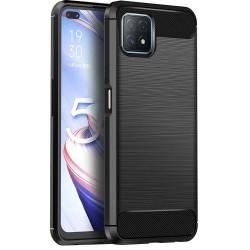 Funda Gel Tpu Tipo Carbon Negra para Oppo A73 5G