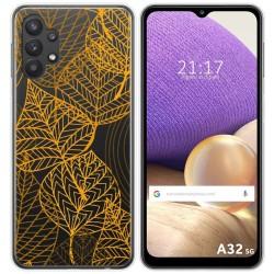 Funda Gel Transparente para Samsung Galaxy A32 5G diseño Hojas Dibujos
