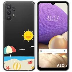 Funda Gel Transparente para Samsung Galaxy A32 5G diseño Playa Dibujos