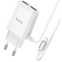 Cargador de Red Hoco. con Clable y Conector Dual USB 2,4A Lightning color Blanco
