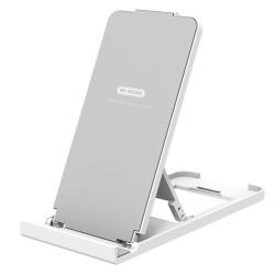 Soporte WK Design Plegable de Escritorio para Smartphone y Tablet Blanco Plata