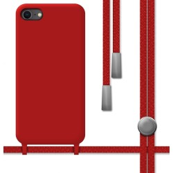 Funda Silicona Líquida con Cordón para Iphone 7 / 8 / SE 2020 color Roja