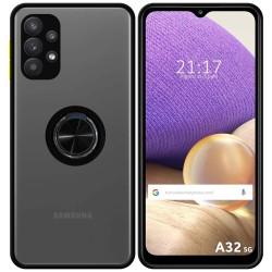Funda Mate con Borde Negro y Anillo Giratorio 360 para Samsung Galaxy A32 5G