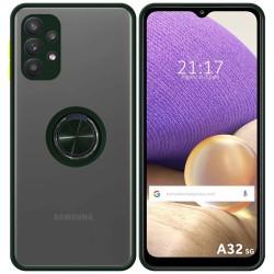 Funda Mate con Borde Verde y Anillo Giratorio 360 para Samsung Galaxy A32 5G