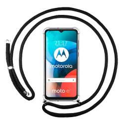 Funda Colgante Transparente para Motorola Moto E7 con Cordon Negro